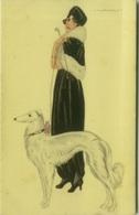 NANNI SIGNED 1910s POSTCARD - WOMAN & DOG - N.300/1 ( BG815) - Nanni