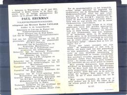 Paul  Eeckman. Geb. Te Waarschoot En Overleden Te Eeklo 1964.Volksvertegenwoordiger - Andachtsbilder