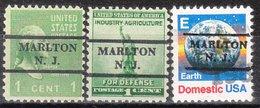USA Precancel Vorausentwertung Preo, Locals New Jersey, Marlton L-1 TS, 3 Diff. - Vereinigte Staaten