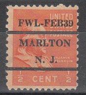USA Precancel Vorausentwertung Preo, Locals New Jersey, Marlton L-4 ITS - United States