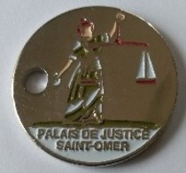 Jeton De Caddie - PALAIS DE JUSTICE - SAINT-OMER (62) - En Métal - Neuf - - Munten Van Winkelkarretjes