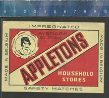 APPLETONS HOUSEHOLD STORES OLD Matchbox Packet Label Belgium - Boites D'allumettes - Etiquettes