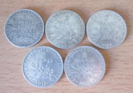 France - 5 Monnaies 2 Francs Semeuse Argent 1898 à 1914 - TB à SUP - Achat Immédiat - I. 2 Francs