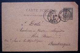 Bergues 1892 (Nord) Entier Postal Avec Boîte Rurale De West-Cappel Par L'instituteur Adjoint, Pour Dunkerque - Storia Postale