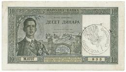 """10 DINARI OCCUPAZIONE ITALIANA DEL MONTENEGRO """"VERIFICATO"""" 22/09/1939 BB+ - Altri"""