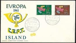 1961 - ISLAND - FDC + Michel 354/355 - Y&T 311/312 [Europa]  + REYKJAVIK - FDC