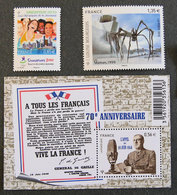 FRANCE - 2010 - YT 4491** + 4492 ** + F93 ** - APPEL 18 JUIN / LOUISE BOURGEOIS MAMAN - JO JEUNESSE SINGAPORE 2010 - France
