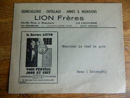 LA LOUVIERE:ENVELOPPE A ENTETE DE CHEZ LION FRERES -QUINCAILLERIE-ARMES _OUTILLAGE- 53/55 RUE J.WAUTERS - Pubblicitari