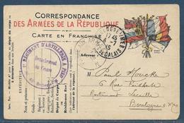 Guerre 14-18 : Tàd Poste Aux Armées N (bureau Frontière) 5.7.1915 / CP FM 7 Drapeaux Mod. A2 + 1er Reg Artillerie à Pied - 1. Weltkrieg 1914-1918