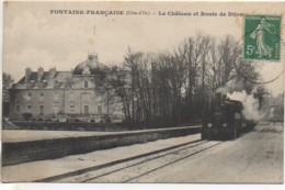 21 FONTAINE-FRANCAISE  Château Et Route De Dijon Avec Le Train - Other Municipalities