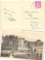 CARTE SUISSE. GENEVE PLACE BEL AIR ET CORRATERIE. 21 6 1932. LE PETIT-SACONNEX POUR LE HAVRE - Schweiz