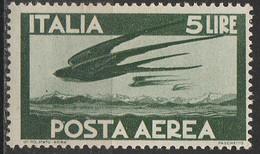 """PIA - ITA - Specializzazione : 1945 : Posta Aerea """"Democratica""""  £ 5 - (SAS 129 - CAR 4) - 6. 1946-.. Republik"""