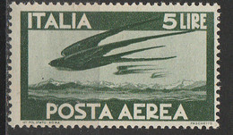 """PIA - ITA - Specializzazione : 1945 : Posta Aerea """"Democratica""""  £ 5 - (SAS 129 - CAR 4) - Luftpost"""