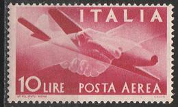 """PIA - ITA - Specializzazione : 1945 : Posta Aerea """"Democratica""""  £ 10 - (SAS 130 - CAR 5) - 6. 1946-.. Repubblica"""