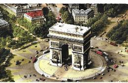 75 Paris Arc De Triomphe Place De L'étoile  Vue Aerienne  Vieux Vehicules Arbres - Arc De Triomphe
