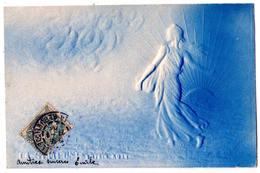 "6836b - Cp Gaufrée Monochrome ( Bleue ) - "" La Semeuse "" - D'après Oscar Roty - - Vrouwen"