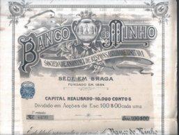 Título De Uma Acção Do Banco Do Minho Nº. 64797, De Braga. Title Of 1 Share Of Banco Do Minho Nº. 64797, Braga. Rare 2sc - Actions & Titres