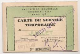 1931 PARIS CARTE DE SERVICE TEMPORAIRE EXPOSITION COLONIALE INTERNATIONALE B2199 - Documenti Storici