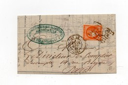 !!! 40C BORDEAUX N°48 OBLITERE GC ST LO 1ER CHOIX, SIGNE ROUMET, SUR LETTRE DE 1872 AVEC TEXTE - Marcophilie (Lettres)