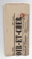 !!! JOURNAL COMPLET DU LOIR ET CHER DE 1870 AFFRANCH 2C LAURE, ANNULATION TYPO - 1849-1876: Classic Period