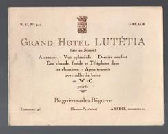 Bagnères De Bigorre (65 Hautes Pyrénées) Dépliant GRAND HOTEL LUTETIA (PPP21660) - Pubblicitari