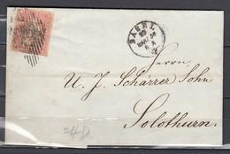 Mi 15 Sur Lettre De Basel  à Solothurn  - 29 MAR 1856 - 1854-1862 Helvetia (Ungezähnt)