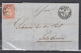 Mi 15 Sur Lettre De Basel Briefexpedition à Solothurn  - 13 MAR 1858 - 1854-1862 Helvetia (Ungezähnt)