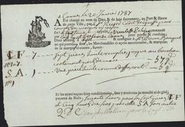 Connaissement Cannes 20 1 1787 Catane Vicomte De Polognac Commandé Ernest 3 Refeve Cannes Pr Agde Chargement Huiles - Verkehr & Transport