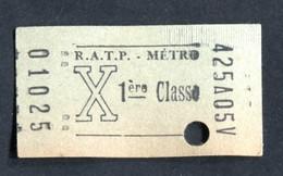 """Ticket De Métro Parisien """"Tarif X (1960 à 1967) 1ère Classe) RATP - Métropolitain De Paris - Métro"""