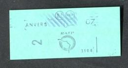 """Ticket De Métro Parisien """"Station Anvers (1992 à 2003) 2ème Classe) RATP - Métropolitain De Paris - Métro"""