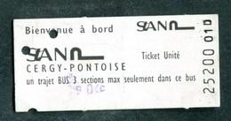 "Ticket De Bus Années 80 ""Cergy-Pontoise"" - Europe"