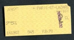 """Ticket De Train Années 80 """"Paris Saint Lazare -> Poissy - Tarif Pour Militaire"""" - Chemins De Fer"""