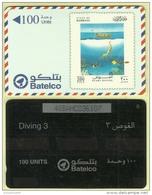"""BHF00004 Bahrain Batelco Prepaid Phonecard """"Diving""""100 Units / Used - Bahrein"""