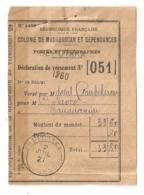 DECLARATION DE VERSEMENT / COLONIE DE MADAGASCAR ET DEPENDANCES BEFOTAKA C9 - Madagaskar (1889-1960)