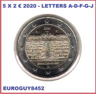 DUITSLAND - 5 X 2 € COM. 2020 UNC - BRANDENBURG - LETTERS A-D-F-G-J - Germany