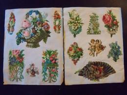 Lot De 95 Chromos Collés Sur Papier.Fleurs Fruits Et Divers. - Fleurs