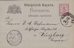 1886 Klagenfurt 5 Pfg GSKte (Bezahlte Antwort) - Stamped Stationery