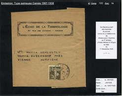 MAURY N°193 :40C SEM.CAMEE - S/BDE JOURNAL  2° ECH.OB AMIENS DU 1/12/25 PR AUTRICHE - Marcophilie (Lettres)