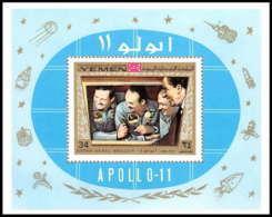758c Yemen Kingdom MNH ** Mi Bloc N° 167 A Apollo 11 First Manned Moon Landing Espace Space - Yémen