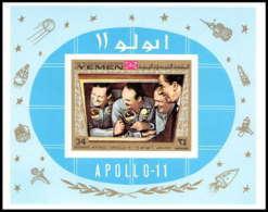 757d Yemen Kingdom MNH ** Mi Bloc N° 167 B Apollo 11 First Manned Moon Landing Espace Space Non Dentelé (imperforate) - Yémen