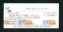 """Ticket De Train 2010 """"Reçu De Paiement"""" SNCF - STIF - Paris - Ile-de-France - Chemins De Fer"""