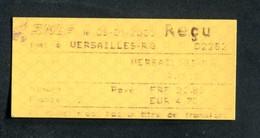 """Ticket De Train - SNCF 2001 """"Reçu De Paiement - Gare De Versailles Rive-Gauche"""" Ile-de-France - Chemins De Fer"""