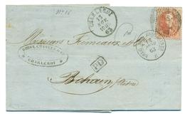 Belgique - COB 16 Sur Pli De Charleroi Vers Bohain-en-Vermandois (Aisne, France) 13 Nov 1863 - 1863-1864 Medallones (13/16)