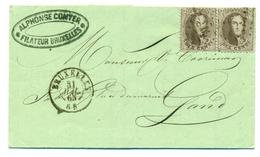 Belgique - COB 14 En Paire Sur Pli De Bruxelles à Gand - 31 Juillet 1865 - 1863-1864 Medaillen (13/16)