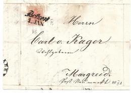 3075z5: Österreich- Südtirol 1850, ANK 3 MP III B Auf Briefvorderseite Botzen> Margreit - Lombardo-Venetien