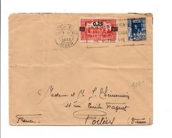 ALGERIE AFFRANCHISSEMENT COMPOSE SUR LETTRE DE ALGER GARE POUR LA FRANCE 1939 - Covers & Documents