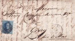 Belgique - COB11A P123 Verviers Sur Fragment - Vers Givry (Belgique) - Mai 1860 - Monté Sur Charnières - 1858-1862 Médaillons (9/12)