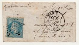 !!! BALLON MONTE DU 13/11/1870 POUR CHALON SUR SAONE, MANQUE UNE PARTIE DU RABAT AU DOS - Marcophilie (Lettres)