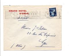 ALGERIE LETTRE A EN TETE D'HOTEL DE ORAN 1954 - Covers & Documents