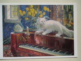 """CHAT Solitaire """" Art Naif  Soleil Sur Le Piano Par Carl BUDTZ MOLLER  """"   (Illustration Cat Katze Kat Solo) - Spectacle"""